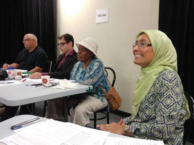 A captive audience ... Davender Gupta (GE), David Galipeau, RoseLyn Small (grammarian) & Shaheen Junaid